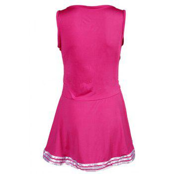 Active Scoop Neck Sleeveless Letter Print Cheerleader Dress For Women - ROSE ROSE
