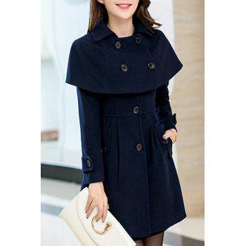 Elegant Women's Turn-Down Collar Long Sleeves Cape Coat