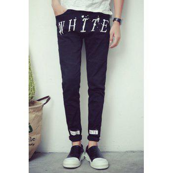 Paint Dot Design Zipper Fly Letter Print Slimming Narrow Feet Men's Jeans