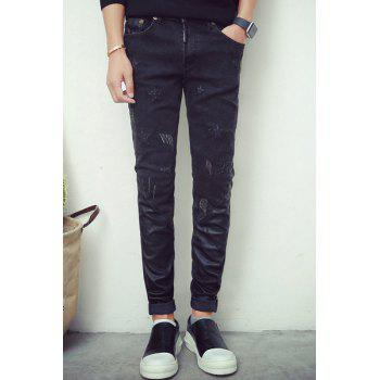 Zipper Fly PU-Leather Splicing Star Pattern Slimming Narrow Feet Men's Jeans
