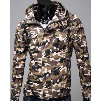 Slimming Hooded Patch Pocket French Front Back Slit Slimming Long Sleeves Men's Camo Coat