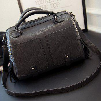 Vintage Fringe and Rivets Design Tote Bag For Women - BLACK