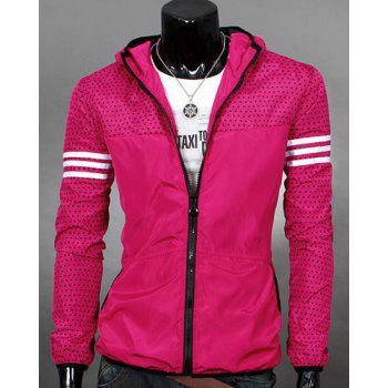Striped Braid Spliced Polka Dot Print Color Block Hooded Long Sleeves Men's Slimming Jacket