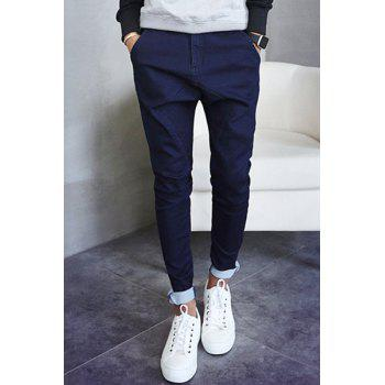 Low-Crotch Zipper Fly Solid Color Narrow Feet Loose-Fitting Men's Jeans