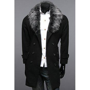 Detachable Wool Collar Multi-Button Back Slit Woolen Blend Long Sleeves Men's Slimming Peacoat