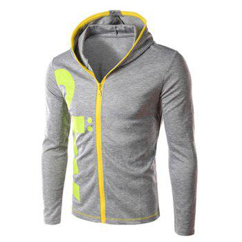Color Block Zipper Fly Letters Print Slimming Hooded Long Sleeves Men's Vogue Hoodie