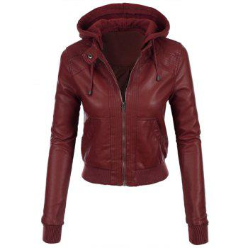Stylish Long Sleeve Hooded Solid Color Faux Leather Spliced Women's Jacket