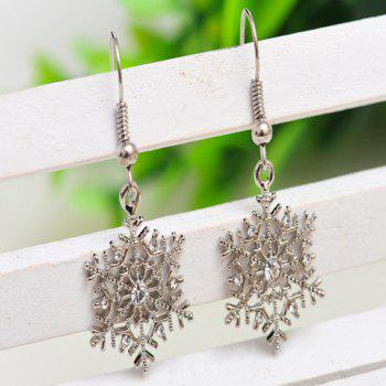 Pair of Rhinestone Snowflake Earrings