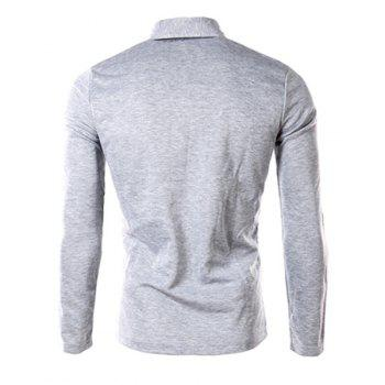 One Patch Pocket Color Block Splicing Slimming Turn-down Collar Long Sleeves Men's Polo T-Shirt - LIGHT GRAY M