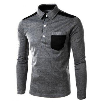 One Patch Pocket Color Block Splicing Slimming Turn-down Collar Long Sleeves Men's Polo T-Shirt