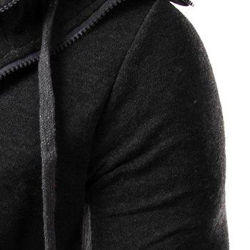 Faux Twinset Rib Spliced Double Zipper Fly Drawstring Hooded Slimming Men's Long Sleeves Hoodie - DEEP GRAY M