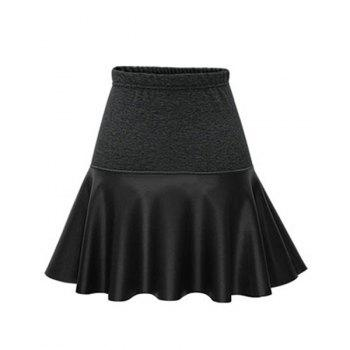 Trendy PU Leather Spliced Elastic Waist Skirt For Women - BLACK 3XL