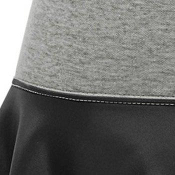 Trendy PU Leather Spliced Elastic Waist Skirt For Women - 3XL 3XL