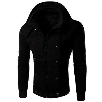 Multi-Button Embellished Rib Spliced Slimming Hooded Long Sleeves Men's Vogue Coat