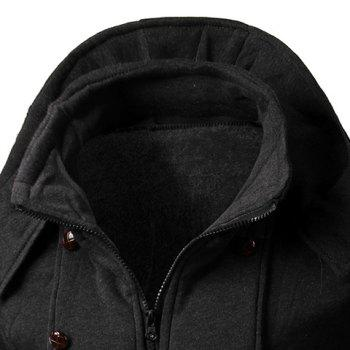 Multi-Button Embellished Rib Spliced Slimming Hooded Long Sleeves Men's Vogue Coat - DEEP GRAY M