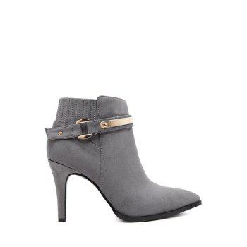 Simple Style Metal and Pure Color Design Women's Ankle Boots