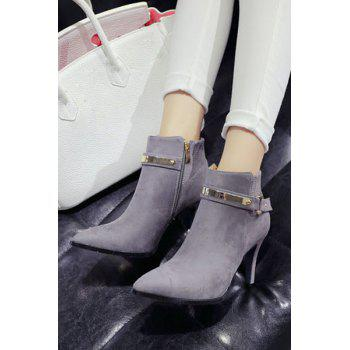 Simple Style Metal and Pure Color Design Women's Ankle Boots - GRAY 38