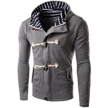 Slimming Striped Hooded Inclined Patch Pocket Horn Button Long Sleeves Men's Vogue Hoodie