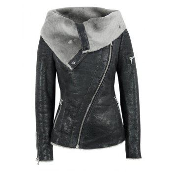 Stylish Long Sleeve Turn-Down Collar Zippered Women's Leather Black Jacket