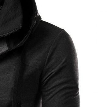 Hit Color Double Zipper Fly Stereo Flap Pocket Rib Spliced Hooded Long Sleeves Men's Faux Twinset Hoodie - GRAY M