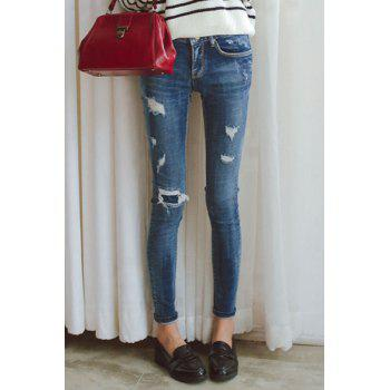 Casual Mid-Waisted Ripped Frayed Women's Skinny Jeans