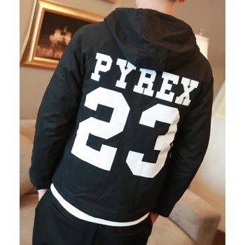 Letter Embroidered Hooded Buttons Long Sleeve Thicken Men's Jacket - BLACK M
