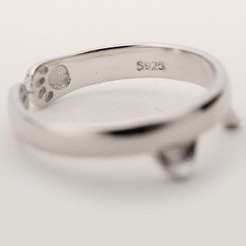 Kitten Shape Cuff Ring - SILVER ONE-SIZE