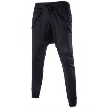 Solid Color Lace-Up Low-Crotch Beam Feet Zipper Design Splicing Men's Pants - BLACK 2XL