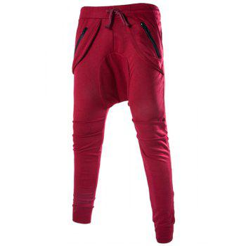 Solid Color Lace-Up Low-Crotch Beam Feet Zipper Design Splicing Men's Pants - WINE RED WINE RED