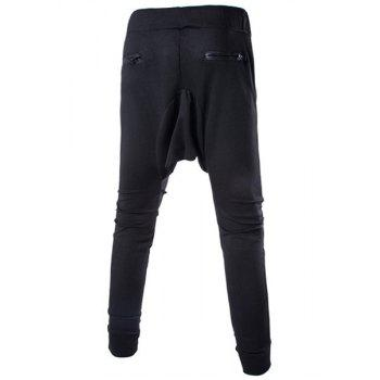 Solid Color Lace-Up Low-Crotch Beam Feet Zipper Design Splicing Men's Pants - 2XL 2XL