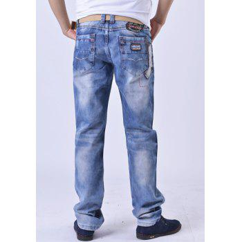 Zip Fly Patch Design Distressed Straight Denim Pants - 30 30