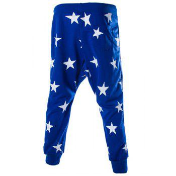 Stars Print Lace-Up Low-Crotch Beam Feet Slimming Men's Nine Minutes of Pants - 2XL 2XL