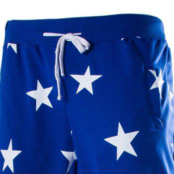 Stars Print Lace-Up Low-Crotch Beam Feet Slimming Men's Nine Minutes of Pants - BLUE BLUE