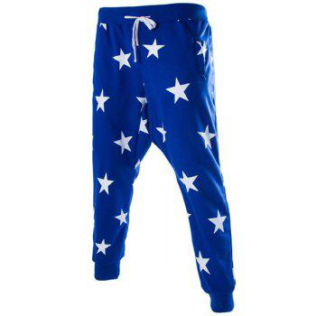 Stars Print Lace-Up Low-Crotch Beam Feet Slimming Men's Nine Minutes of Pants - BLUE 2XL