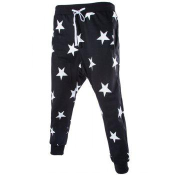 Stars Print Lace-Up Low-Crotch Beam Feet Slimming Men's Nine Minutes of Pants
