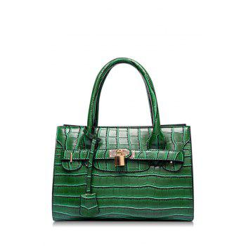 Gorgeous Crocodile Print and Lock Design Women's Tote Bag - GREEN GREEN