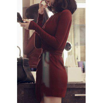 Stylish Long Sleeve V-Neck Self Tie Belt Pure Color Women's Dress - WINE RED WINE RED