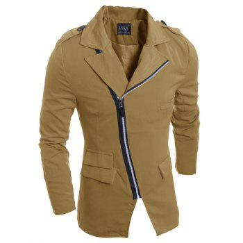 Inclined Zipper Design Turn-Down Collar Pockets Embellished Long Sleeve Men's Jacket