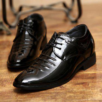 Fashion Black and Lace-Up Design Formal Shoes For Men - BLACK 39