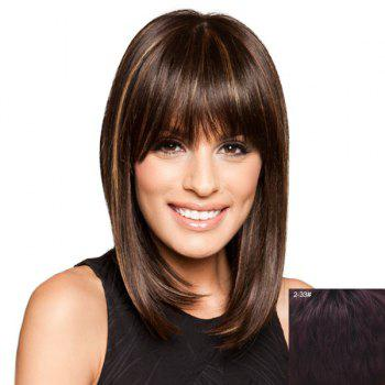 Charming Silky Straight Neat Bang Vogue Medium Capless Women's Real Natural Hair Wig