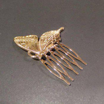 Charming Solid Color Butterfly Hair Comb For Women - GOLDEN GOLDEN