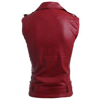 Belt Design Turn-Down Collar Zipper PU-Leather Sleeveless Men's Waistcoat - RED M