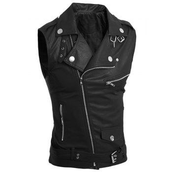 Belt Design Turn-Down Collar Zipper PU-Leather Sleeveless Men's Waistcoat - BLACK L