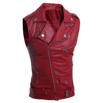 Belt Design Turn-Down Collar Zipper PU-Leather Sleeveless Men's Waistcoat