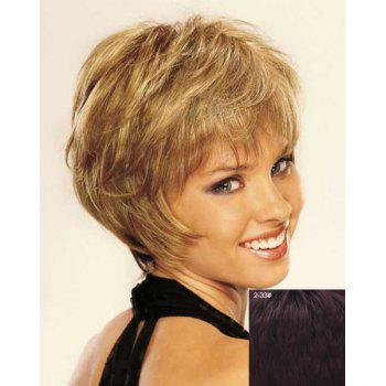 Stunning Side Bang Shaggy Wavy Stylish Short Capless Women's Real Natural Hair Wig - BROWN BLACK MIXED 2/33# BROWN BLACK MIXED /