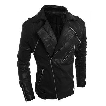 Zipper PU-Leather Turn-Down Collar Long Sleeve Vintage Men's Jacket