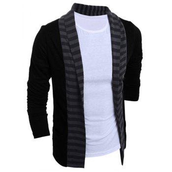 Color Block Splicing Turn-Down Collar Stripe Long Sleeve Men's Cardigan