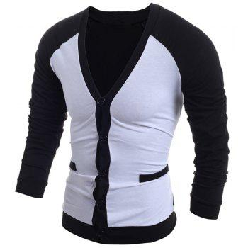 Color Block Splicing V-Neck Single-Breasted Long Sleeve Men's Cardigan - WHITE 2XL