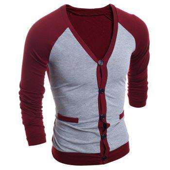 Color Block Splicing V-Neck Single-Breasted Long Sleeve Men's Cardigan