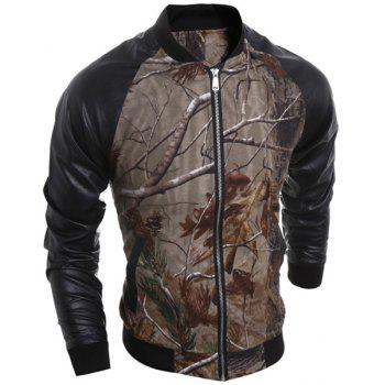 PU-Leather Stand Collar 3D Tree Branch Print Long Sleeve Men's Jacket